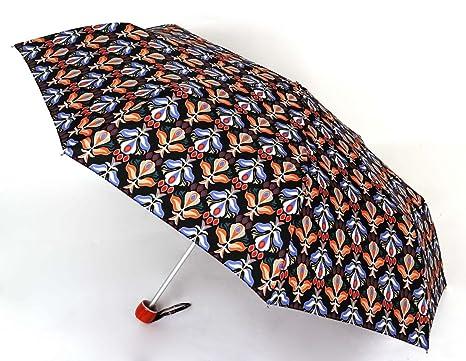 Paraguas plegable mini estampado. Paraguas Vogue, empuñadura naranja