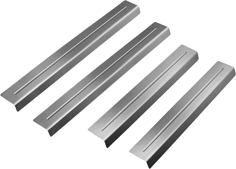 gsmarkt Edelstahl Schutz Einstiegsleisten Set Matt Optischer Tuning Einstiegsschutz f/ür Auto T/üreinstiegsleiste Silber