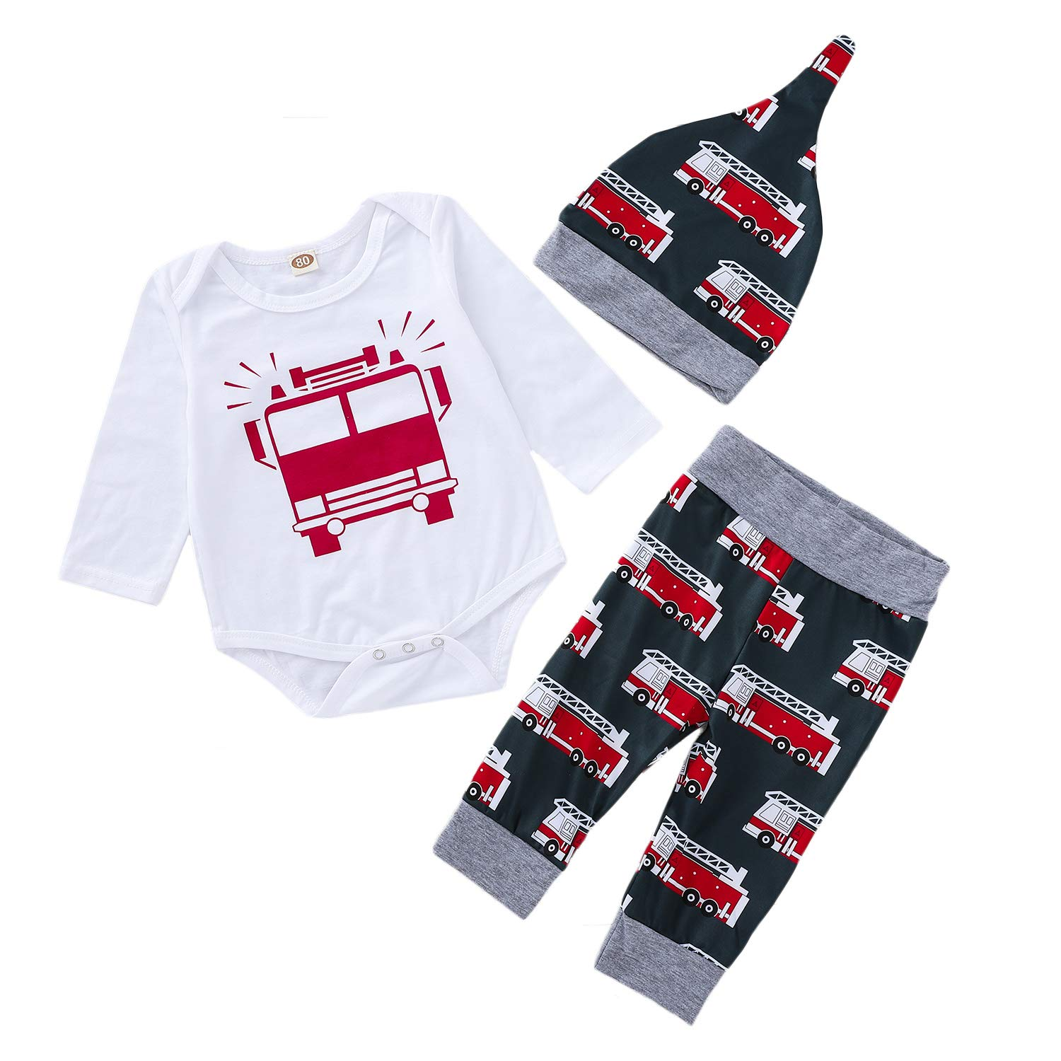 4a1429c5fa63 Amazon.com  3PCS Infant Rompers Pants Hat Clothes Set Baby Boys Girls Fire  Truck Printed Romper Matching Harem Bottoms Hat Outfits  Clothing