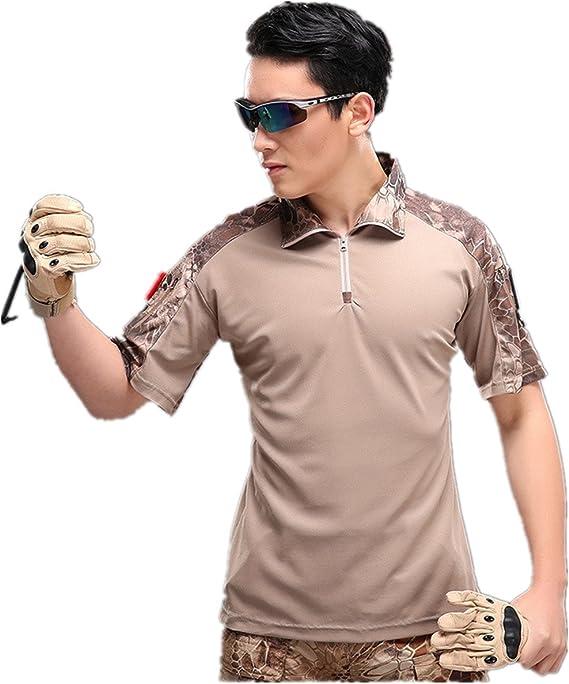Camisa de Combate para Hombres Caza táctica Militar Polo de Manga Corta Held Airsoft Camuflaje Camiseta Uniforme táctico Ropa Deportes al Aire Libre para Multicam Desert Python x-Small: Amazon.es: Ropa y accesorios