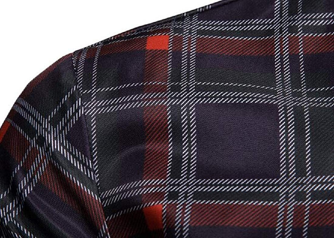 Fubotevic Mens Slim Fit Long Sleeve Lapel Neck Plaid Print Business Button Up Dress Shirt