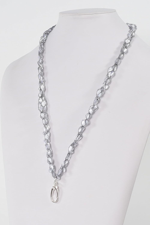 CROCHETLACES Lanyard Necklace ID Badge Key Holder Crochet Yarn- Color Moonstone