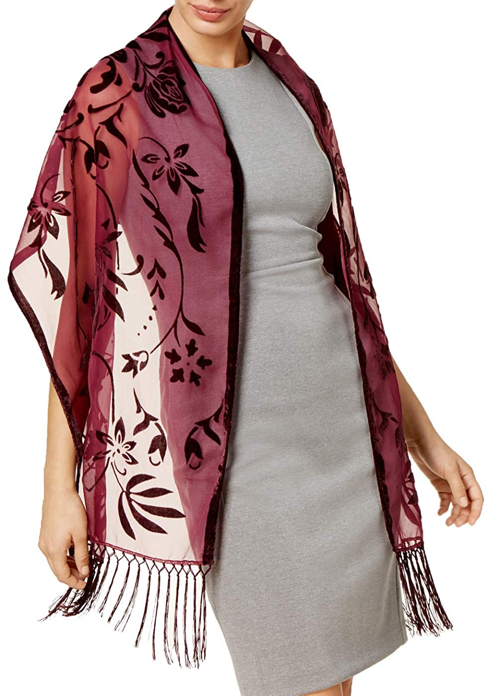 5fbc4b4dae55 INC International Concepts Women's Burgundy Floral Scroll Evening Wrap  Scarf at Amazon Women's Clothing store: