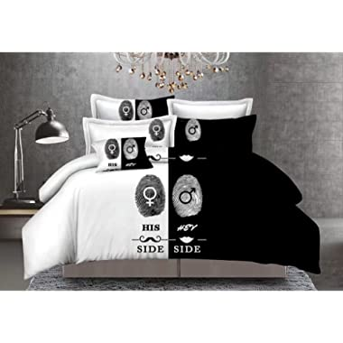QzzieLife Soft Microfiber His and Hers Bedding Set for Couples 3PC Duvet Cover Set Queen Size White/Black