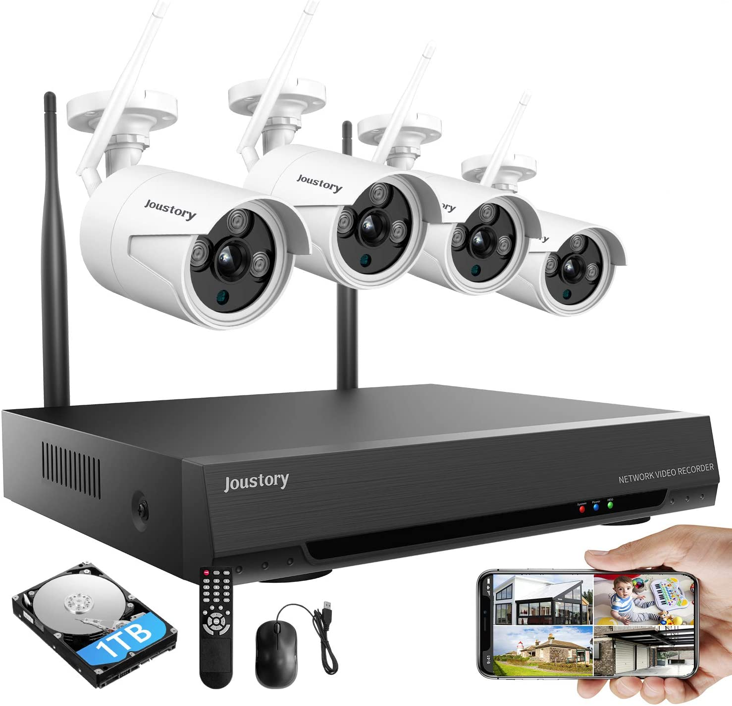Wireless Home Security Camera System, 8CH 1080P Surveillance NVR Kits with 4pcs 2.0MP Cameras Outdoor & Indoor with 100ft Night Vision, IP66 Waterproof, 1TB HDD, Audio & Video, Plug & Play