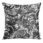Golee Throw Pillow Cover Auto Automobile Car Parts with Monochrome Black and White Automotive Mechanic Decorative Pillow Case Home Decor Square 16x16 Inches Pillowcase