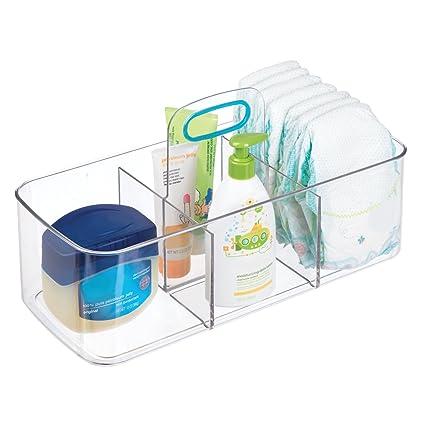 mDesign Cesta organizadora con 4 compartimentos – Cajas de almacenaje grandes con asa para habitación infantil