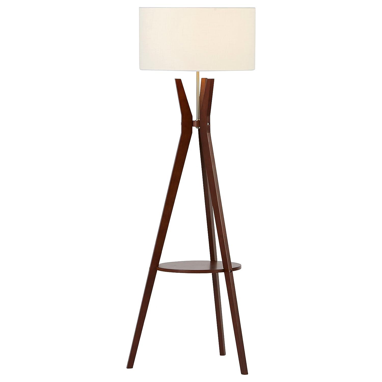 Amazon white floor lamp nursery - Rivet Zoey Mid Century Tripod Storage Floor Lamp 58 H With Bulb