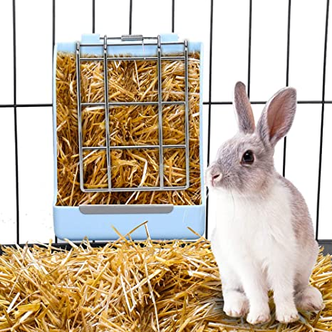 Pet Essential Feeder Storage Bowl Portable Hay Rack Less Wasted Hay Rack Manger for Rabbit Guinea Pig Chinchilla Hamsters Small Animals GZGZADMC Rabbit Hay Feeder Blue