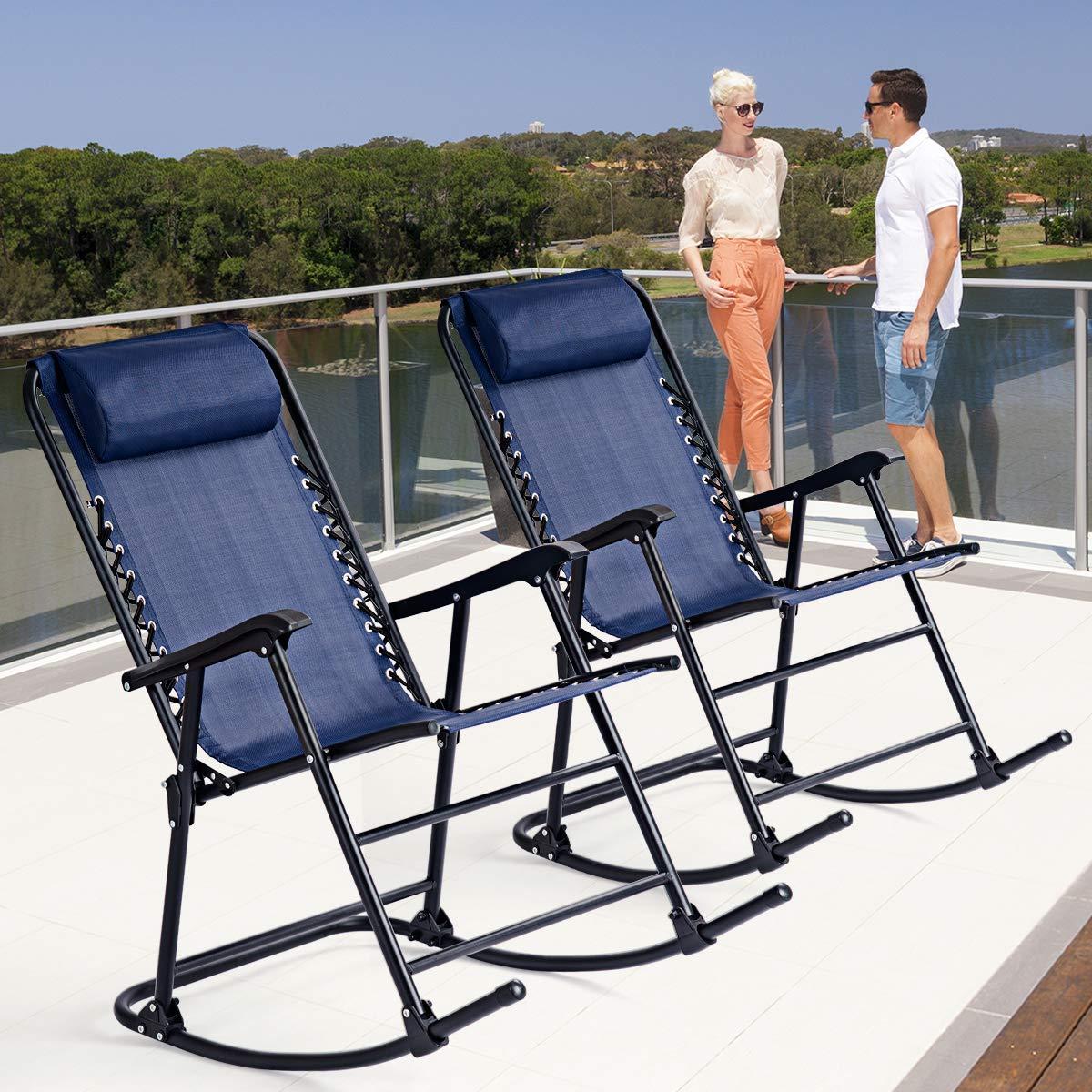 Beige Goplus Folding Rocking Chair Recliner w//Headrest Patio Pool Yard Outdoor Portable Zero Gravity Chair for Camping Fishing Beach