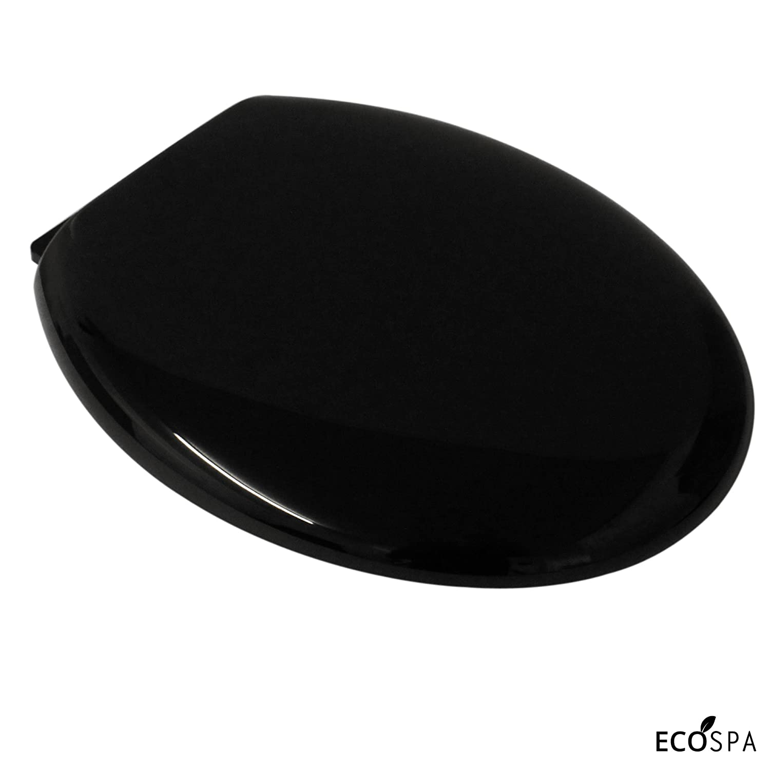 ECOSPA Black Oval Toilet Seat with a Slow Closing Anti Slam Lid & Seat. Easy to Clean and Hygienic with adjustable Top Fixing Hinges, Lightweight and Sturdy.