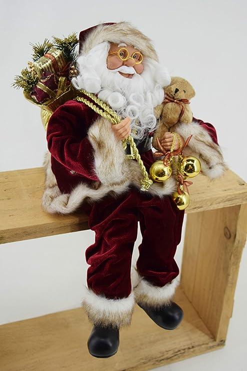 Babbo Natale 40 Cm.Ld Natale Decorazione Dekobote Decorazioni Di Natale Babbo Natale Seduto H 40 Cm Babbo Natale Santa Claus Bordeaux Figura Amazon It Giardino E Giardinaggio