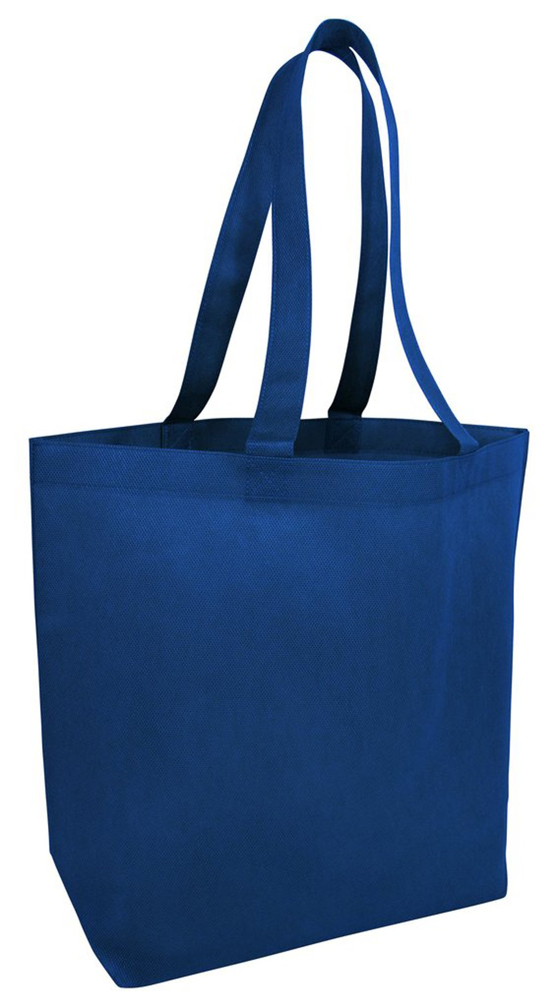 Promotional 80gm Non-Woven Polypropylene Large Size Tote Bags with Bottom Gusset Trade Show Reusable Bags in BULK Event Promo Tote Bags for Events, Conventions, Promotions - NTB25 (100, Royal)