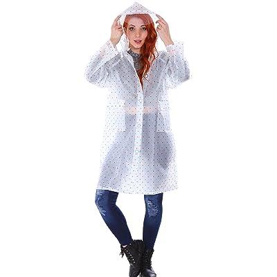 Adults Women's Polka Dot Waterproof Raincoat w/ Hoodie & Pockets