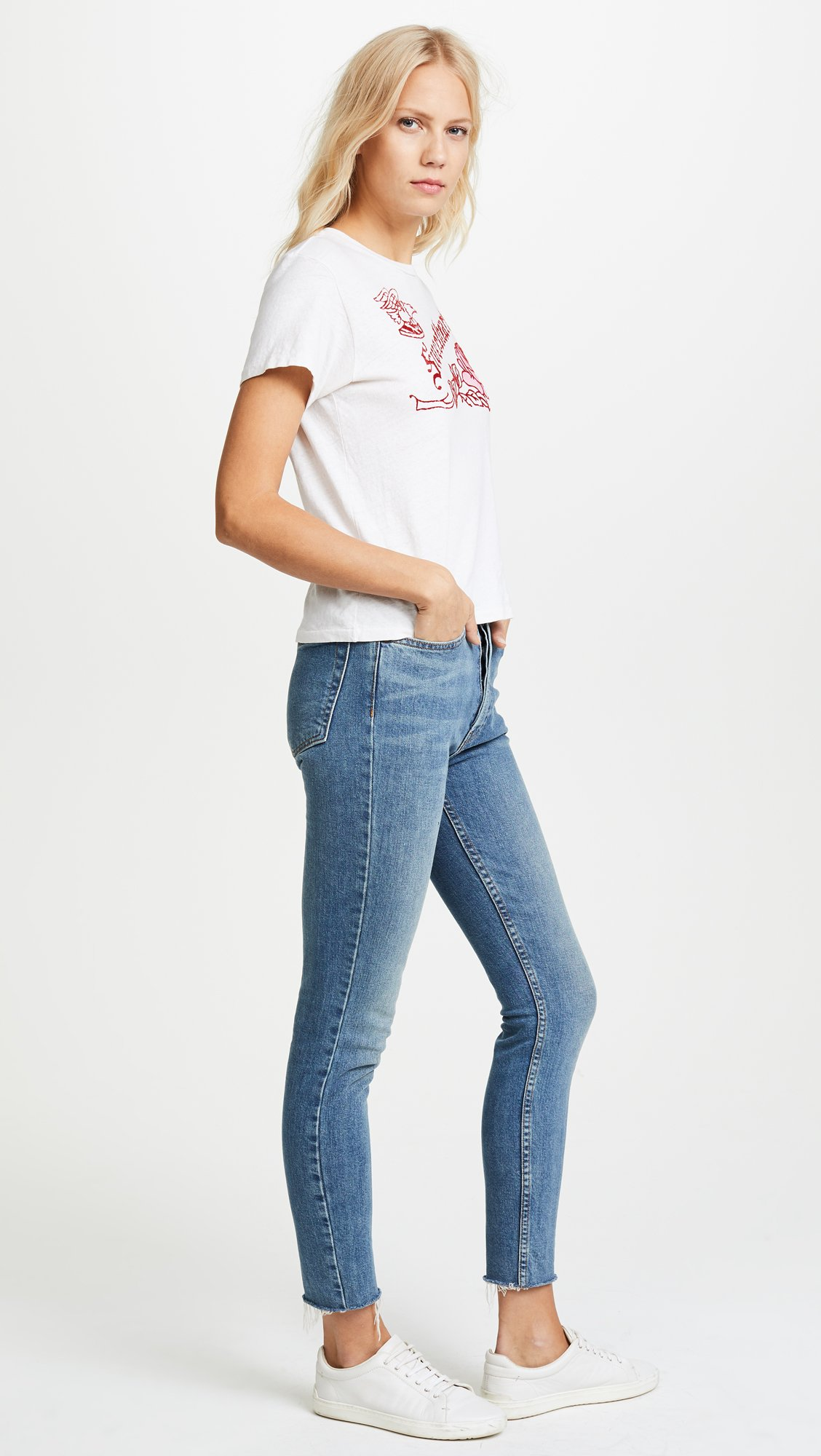 RE/DONE Women's Classic Sweetheart Tee, Vintage White, Medium by RE/DONE (Image #4)