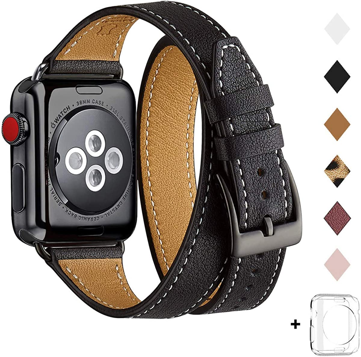 Bestig Band Compatible for Apple Watch 42mm 44mm, Genuine Leather Double Tour Designed Slim Replacement iwatch Strap for iWatch SE,Series 6/5/4/3/2/1 (Black Band+Black, 42mm 44mm)