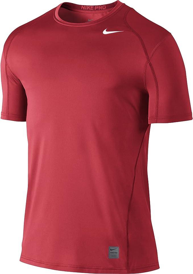 NIKE Men's Pro Fitted Short Sleeve Shirt, University Red