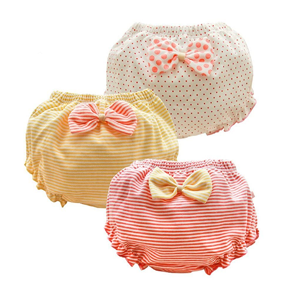 JIEYA Baby Underwear for Toddler Girls Bow-Knot Briefs Panties, Pack of 3 0S-7VOW-XNEB
