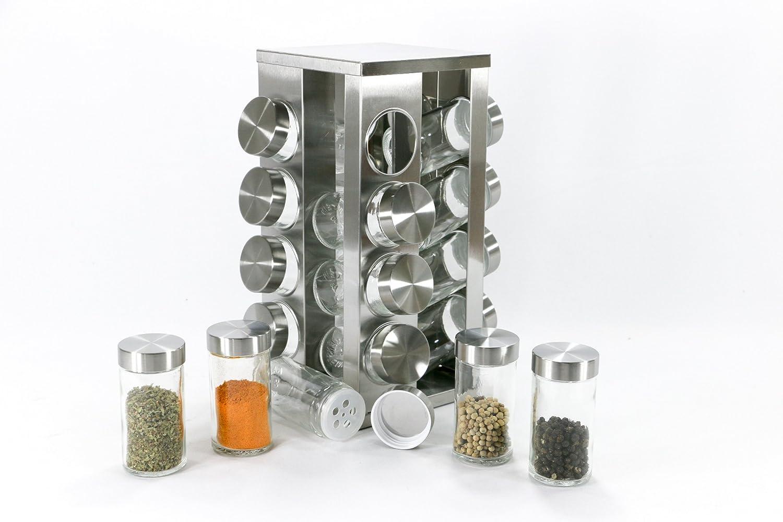 Porta Tempero Giratorio Em Inox 16 Potes