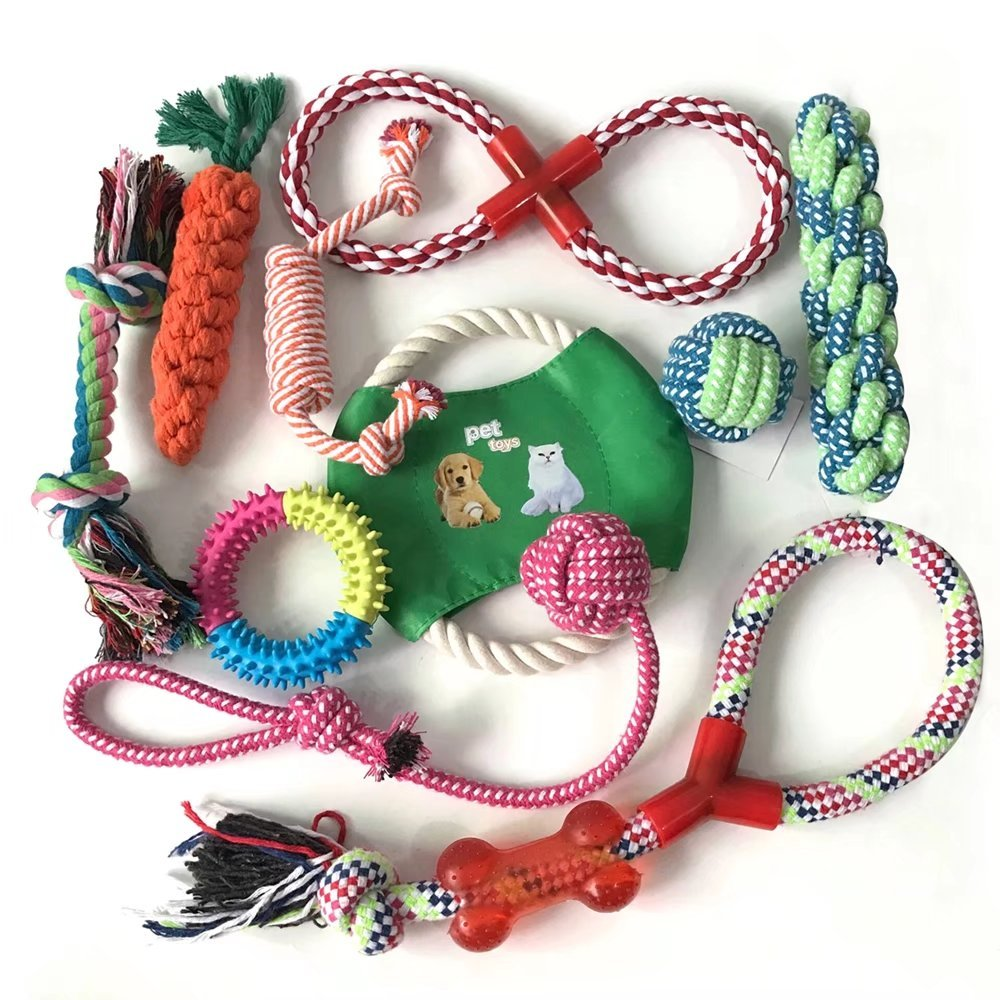 2PCS Funny Pet Dog Toys Cotton Rope Chew Toys Sets Clean Teeth Toy Flying Discs for Dogs Cats