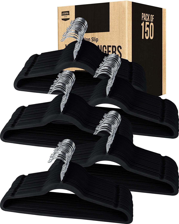 Utopia Home Premium Non-Slip Velvet Hangers (Pack of 150) - Heavy Duty - Coat Hangers - Pant Hangers - Black