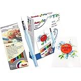 Pentel Aquash Pencil Special Komplett-Set | 12 wasservermalbare Buntstifte und Aquash Pinselstift + Aquarellblock A5+