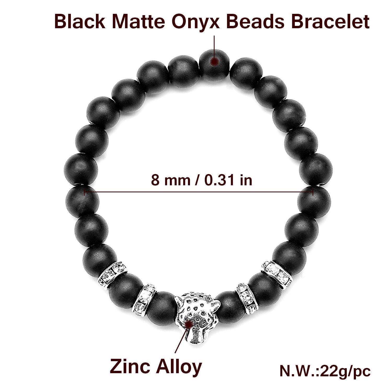 Energy Beads Bracelet,UHIBROS Unisex Natural Tiger Eyes,Black Matte,Weathering Agate Natural Gemstone Beads Stretch Bracelets With Leopard Head Gold,Silver