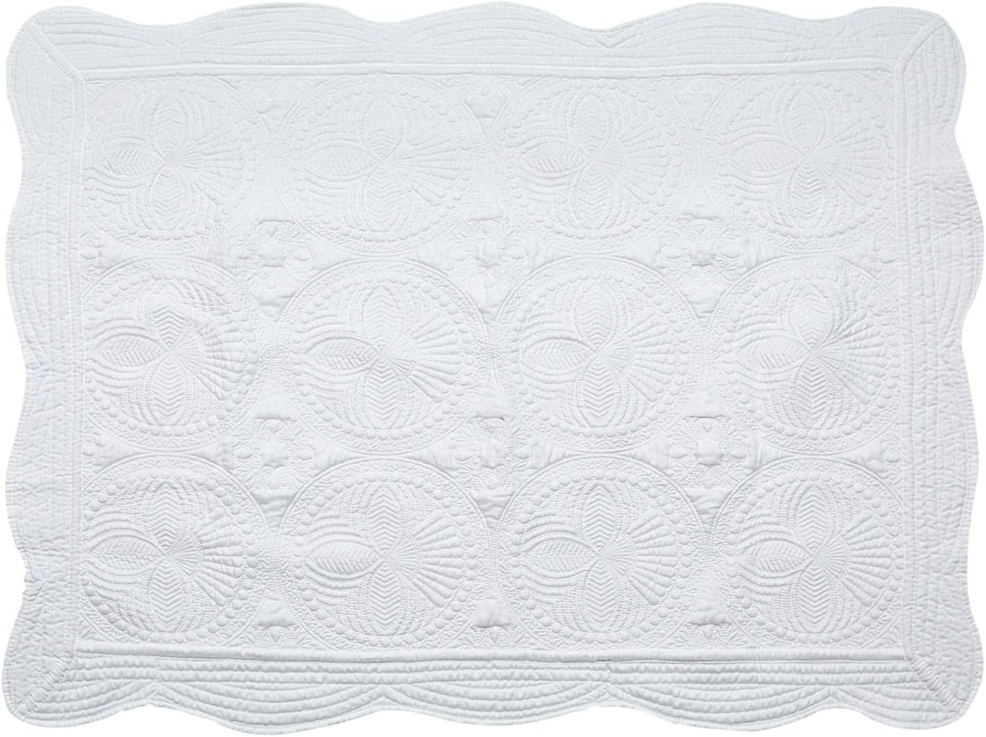 USTIDE 100/% Cotton Baby Quilt Blanket,Washable All Season Toddler Blankets for Baby,50x60-White
