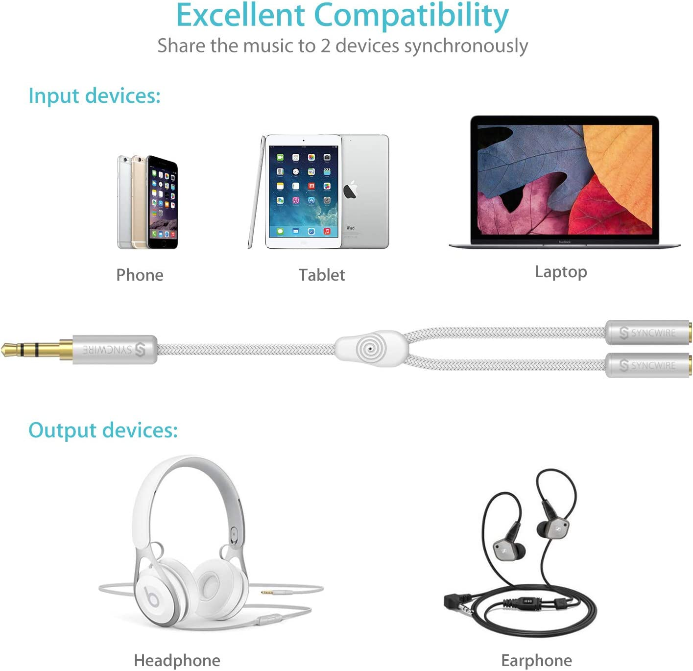 PS4 Switch Nylon-Braided 3.5mm Extension Cable Audio Stereo Y Splitter Syncwire Headphone Splitter 3.5mm Male To 2 Ports 3.5mm Female Headset Splitter for Phone Hi-Fi Sound Tablets /& More