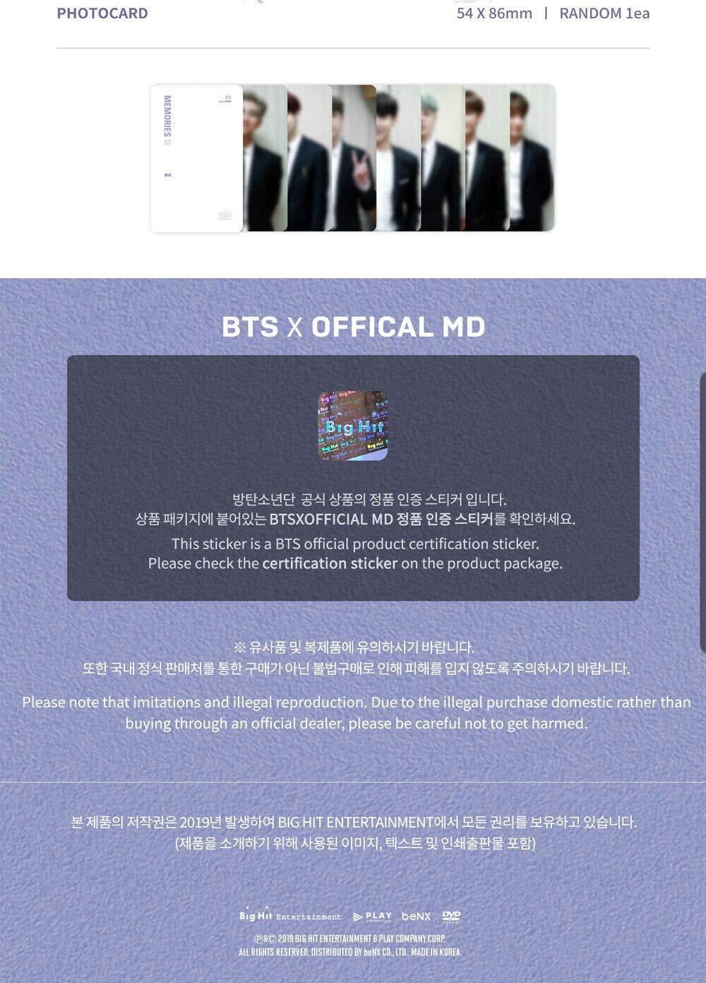 Bangtan Boys - BTS Memories of 2018 DVD 4Discs + BIGHIT Store Pre-Order Benefit + Extra Photocards Set