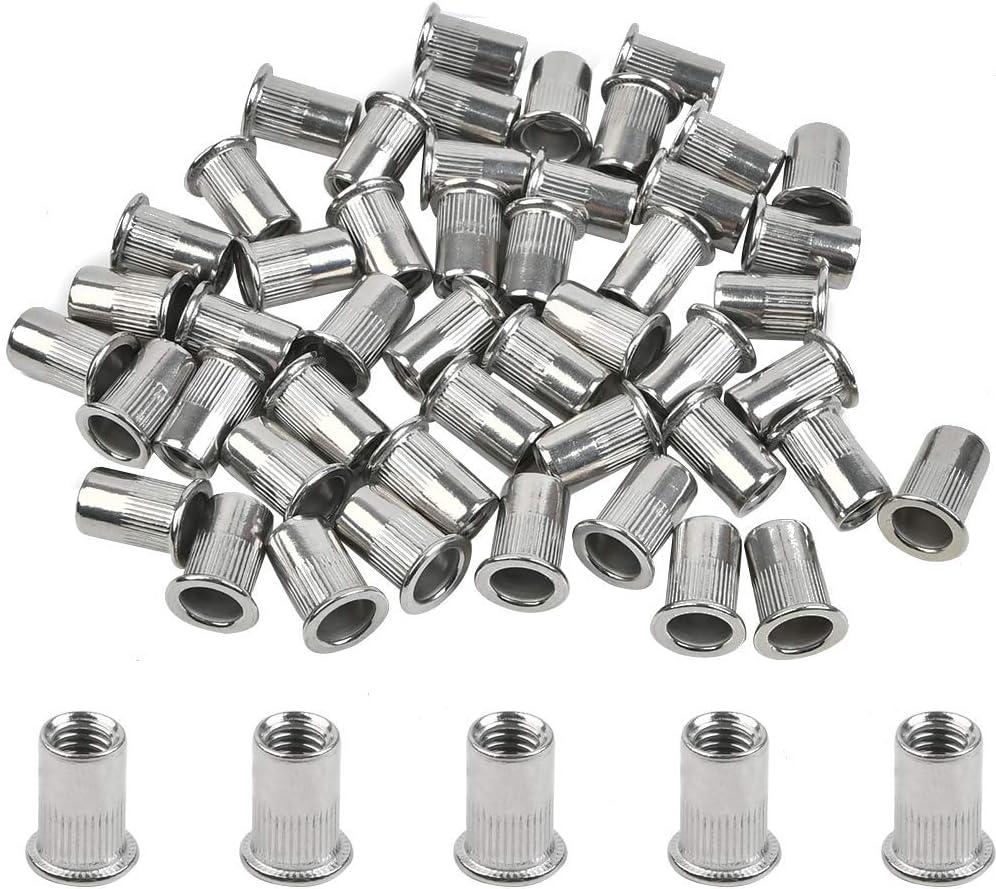 ATPWON Lot de 50 /écrous /à rivets M6 en acier inoxydable M6 pour rivets /à t/ête plate pour pistolet /à rivets Riveter Outil /à riveter T/ête molet/ée
