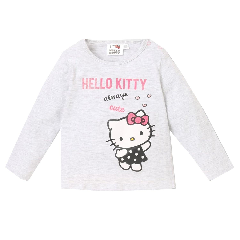 Hello Kitty Langarmshirt Glitzereffekt 62-92 grau Gr