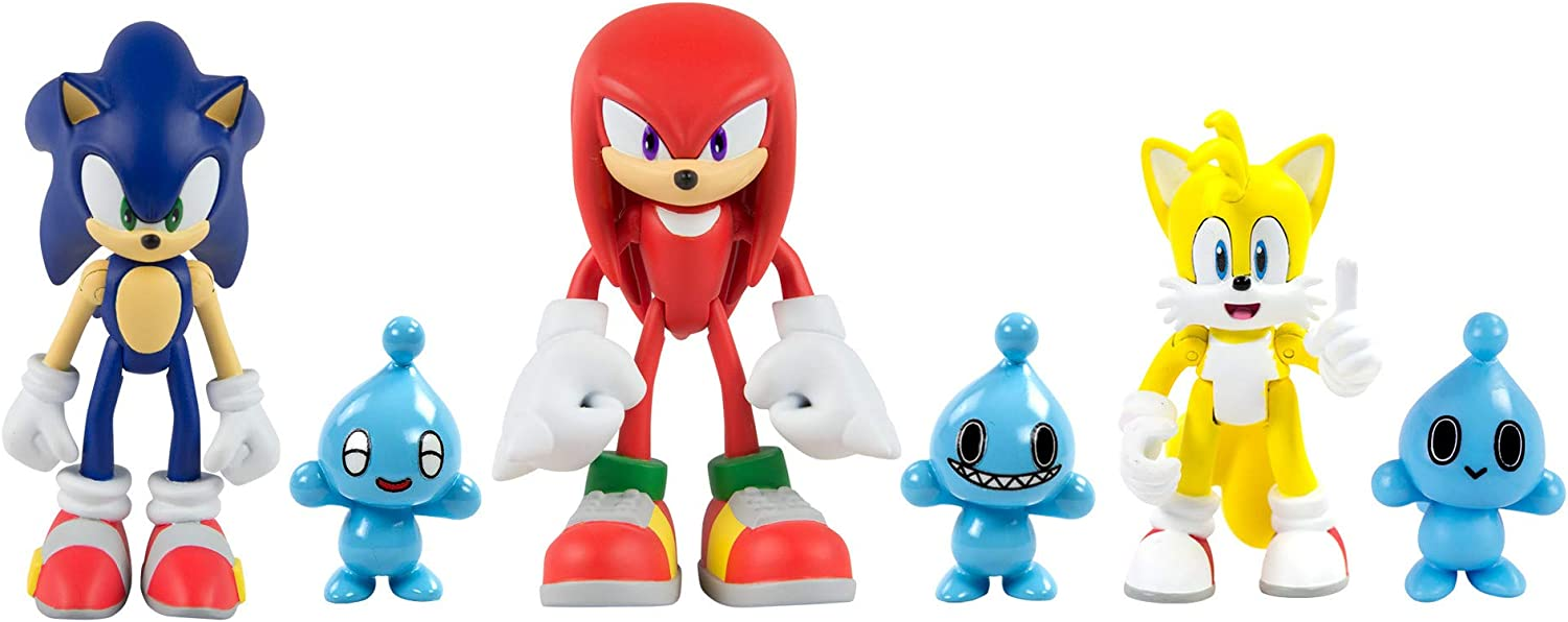 Amazon Com Sonic The Hedgehog Action Figures Ideal Sonic Toys Sonic Knuckles Tails 3 Chao Characters Toys Games