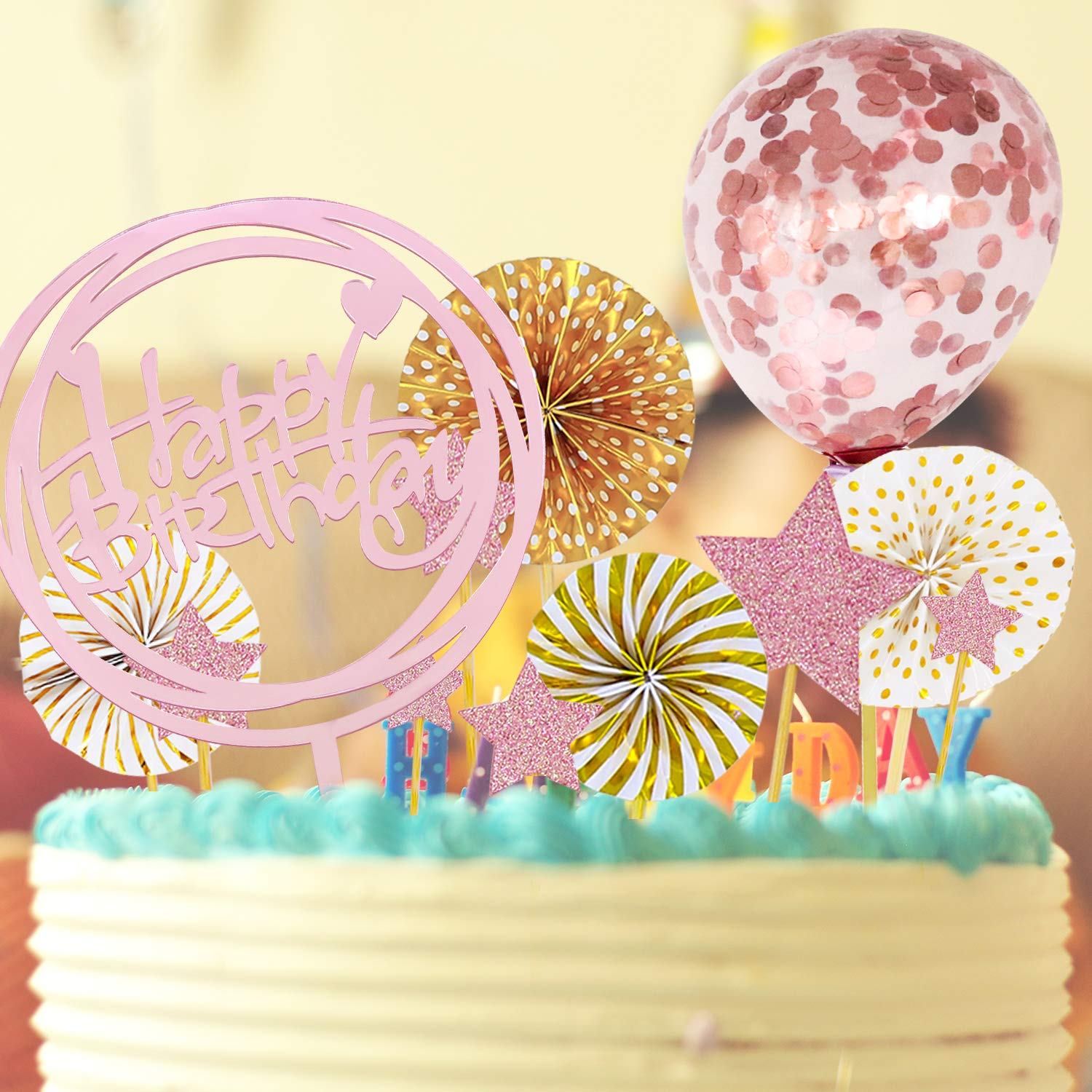 12 PCS Happy Birthday Cake Topper Set Rose Gold Acrylic Round Frame Cupcake Topper Paper Fans Confetti Balloon Birthday Cake Supplies Decorations for Birthday party Baby Shower
