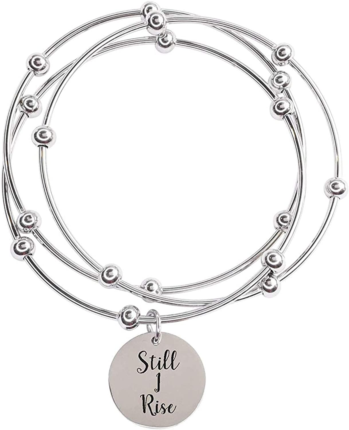 Silver Pink Box 3 Piece Stackable Inspirational Bangles Still Rise