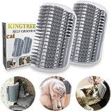 Kingtree 2 PCS Cat Self Groomer, Cats Corner Groomer Wall Corner Massage Comb Grooming Brush Perfect Massager Tool for…