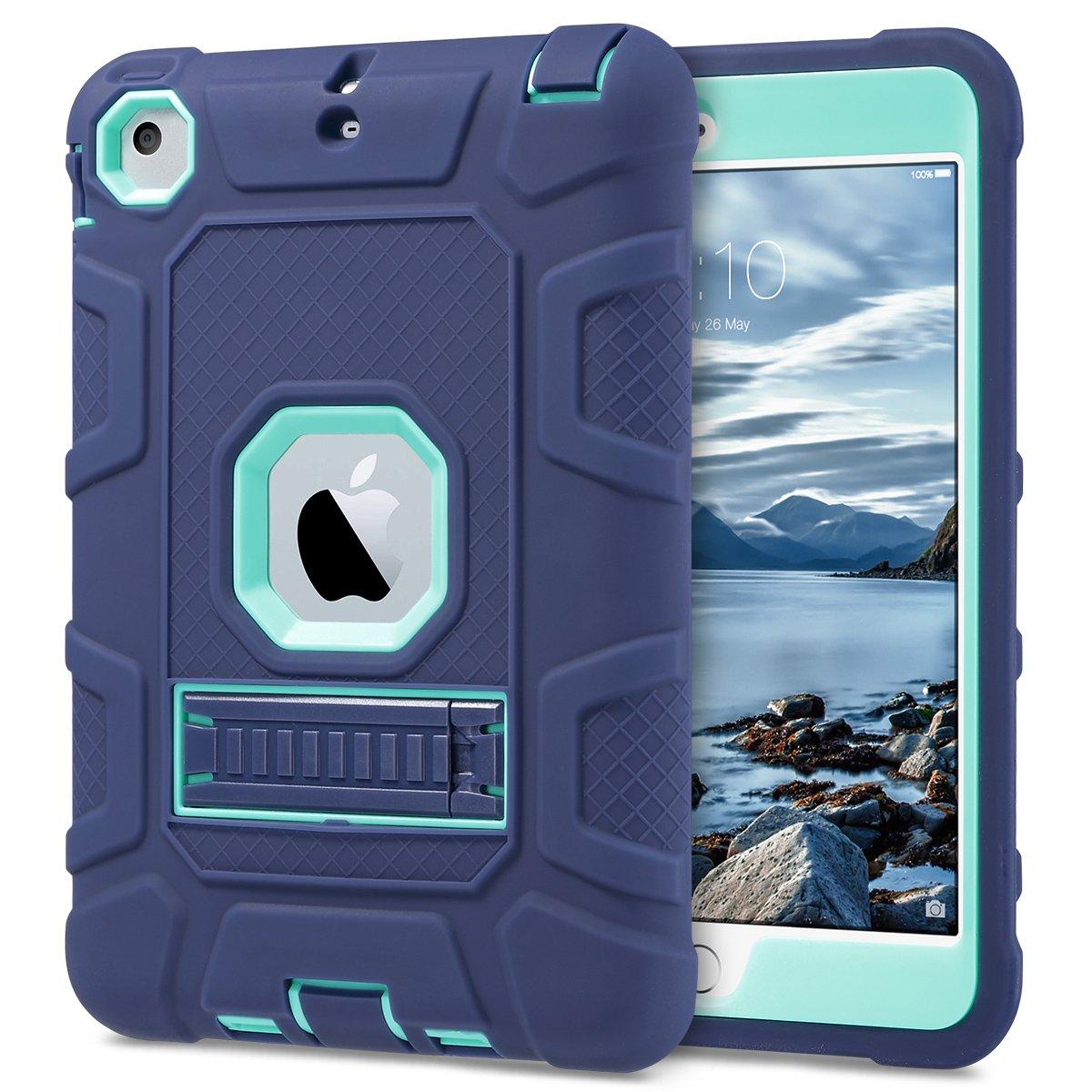 Negro+Negro iPad Mini 2 // Mini 3 Funda Carcasa 3en1 H/íbrido Resistente a Prueba de Golpes Kickstand Robusto Caso para iPad Mini 1 // iPad Mini 2 // iPad Mini 3 ULAK iPad Mini Caso