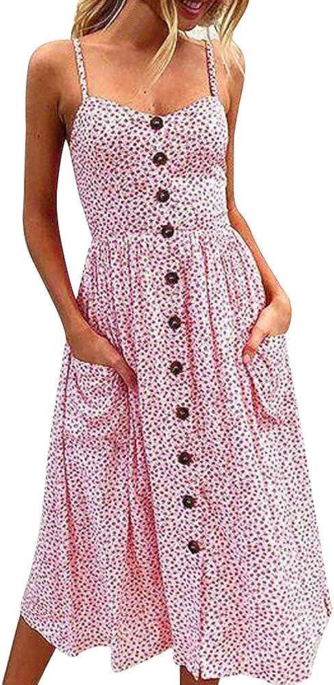 iLUGU Urbanization Midi Dress For Women Off Backless Button -Strap Stripe Gown