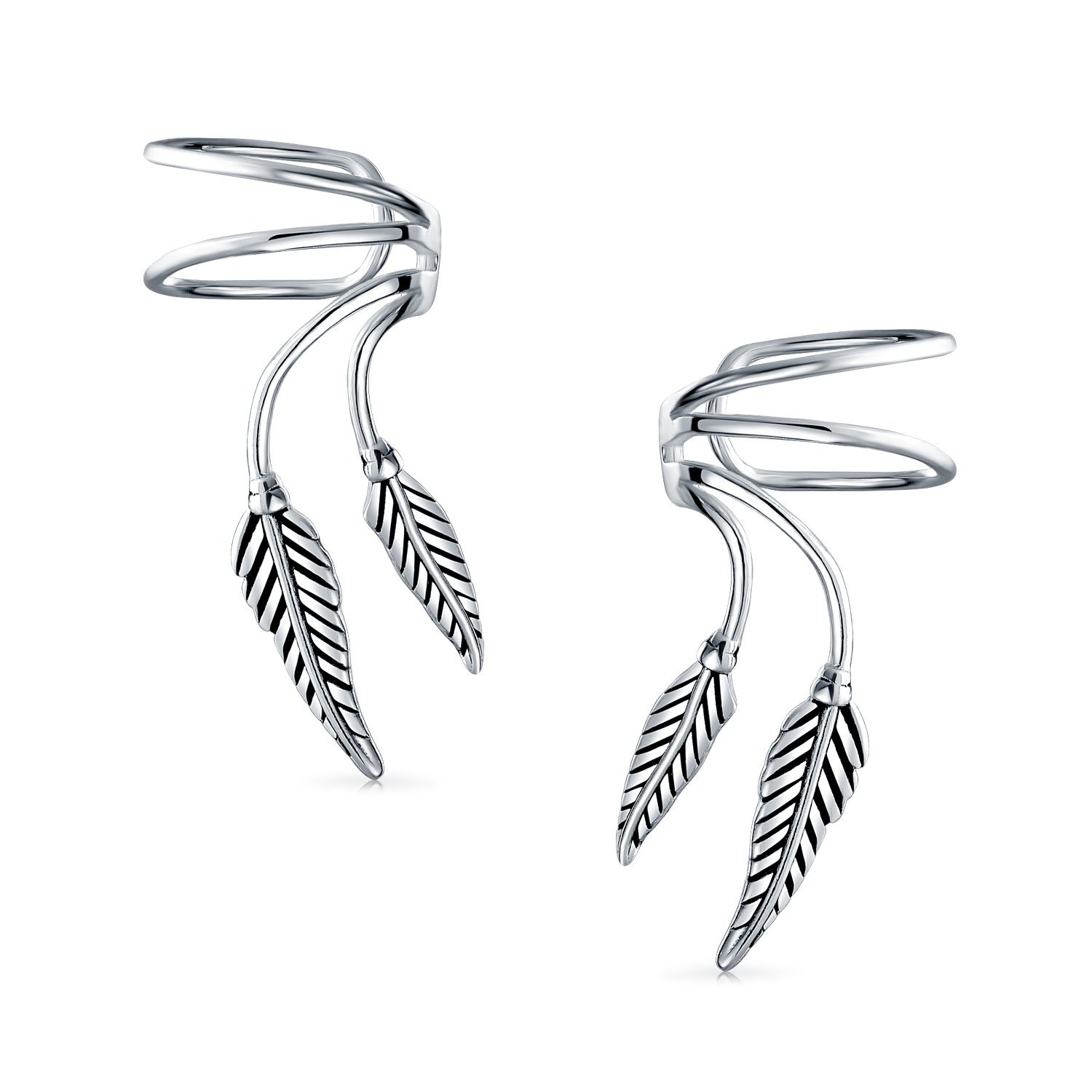 347cf9d8053 Amazon.com: 2 Leaf Feather Cartilage Ear Cuffs Clip Wrap Wire ...