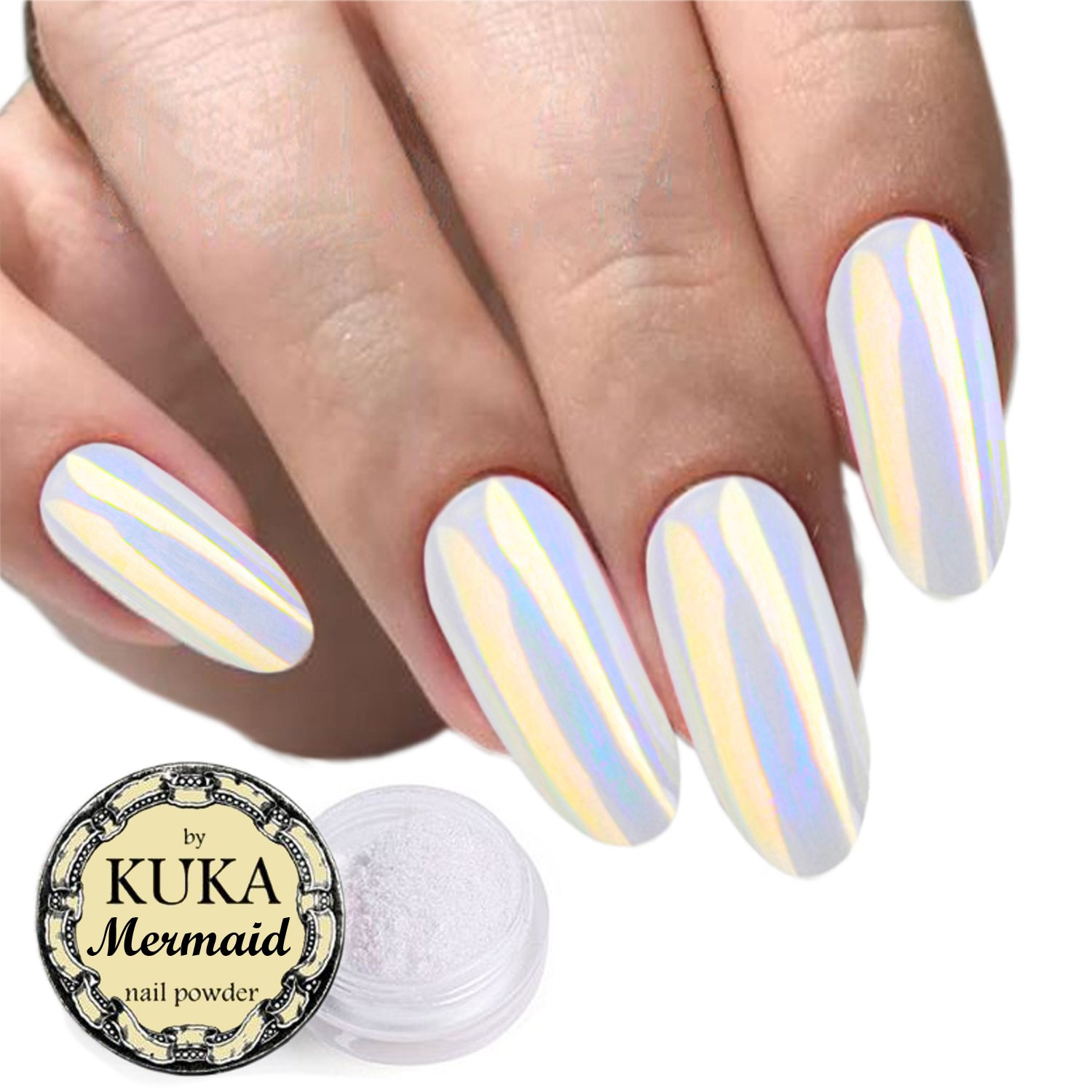 Shell Pearl Effect Powder Nail Art Accessories Chameleon Mermaid Mirror Chrome Glitter Shiny Iridescent Ceramic Neon Nails 5 colours (Aquamarine) Chocokyka