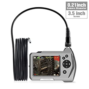 Industrial Endoscope, Teslong Ultra Slim Borescope with 5.5mm Micro Inspection Camera, Waterproof Semi-Rigid Gooseneck, 3.5inch LCD Screen, 6 LED Lights, Lithium-Ion Battery, Tool Box(3m/9.8ft)