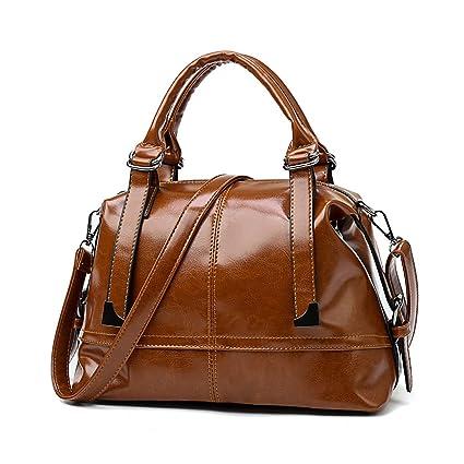 Tisdaini nuevos Bolsos de Las señoras Bolsos Grandes Moda PU Cuero Boston Bolsa Bolso de Hombro Casual para Las Mujeres marrón