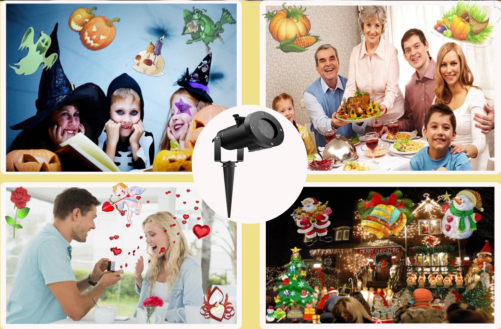 Updated Christmas Projector Lights Outdoor 16 Patterns Slide Replaceable Colorful LED Rotating Projector Lamp Garden Landscape Projection Led Light for all Kinds of Occasions