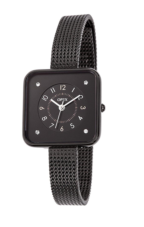Opex – X3955MA1 – Square Time Damen-Armbanduhr - quadratisch – Quarz Analog – Zifferblatt schwarz - schwarzes Armband