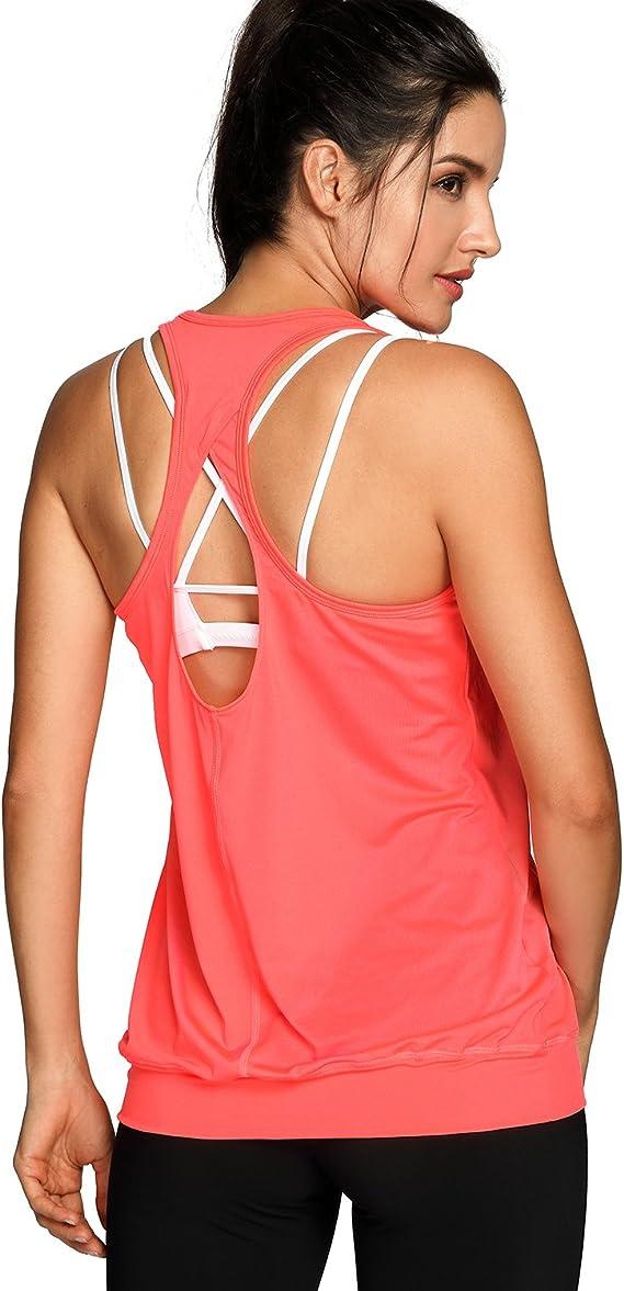 SYROKAN Women/'s Active Racerback Athletic Sports T-shirt Long Yoga Crop Tank Top