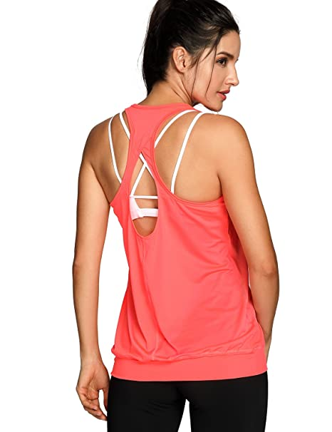 f2ca4d33d09060 SYROKAN Women s Workout Yoga Fitness Sports Racer Back Running Tank Tops  Orange XS