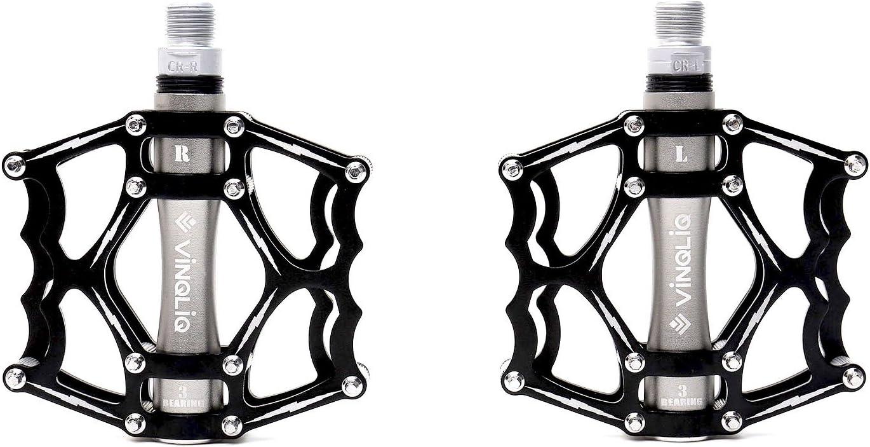 "VINQLIQ 3 Sealed Bearing CNC Aluminum Bike Pedal Cr-Mo 9//16/"" Thread Spindle Red"