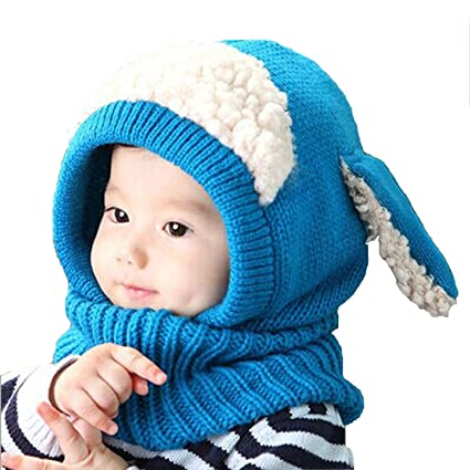 2eed882f667 Sunroyal Baby Girl Boy Hat Scarf Joint With Dog Style Crochet Knitted  Caps-Blue
