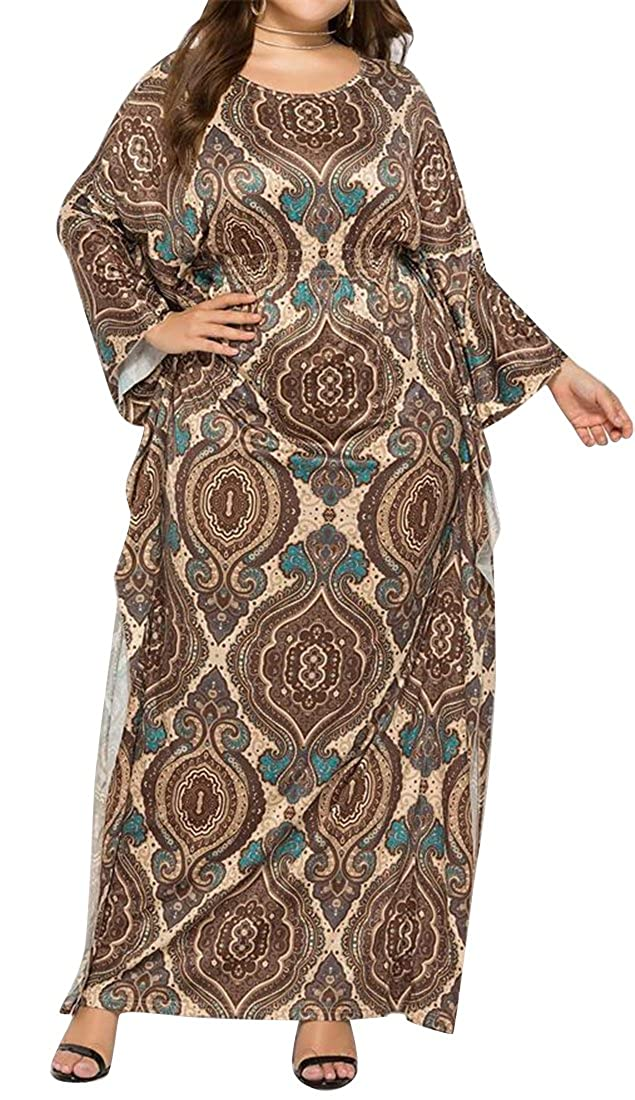 ARTFFEL Womens Casual Batwing Sleeve African Print Plus Size ...