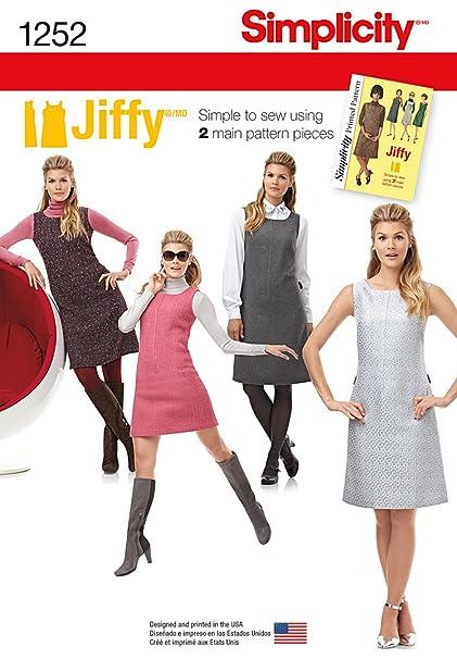 66fc5b488fd2 Amazon.com  Simplicity Jiffy Pattern 1252 Misses Miss Petite Dress ...